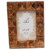 "4"" x 6"" Brown Wooden Squares Picture Frame"