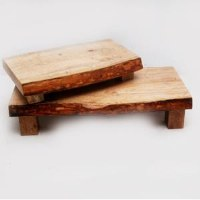 "Set of 2, 22"" Wooden Footed Server"