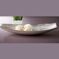 "24"" Silver Oval Textured Metal Bowl"