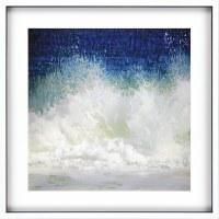 "42"" Square Crashing Waves Framed Print"