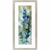 """46"""" x 22"""" Dark Blue Center Flowers Framed Print"""