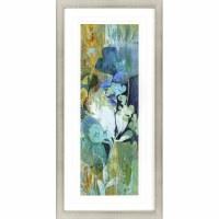 """46"""" x 22"""" White Center Flowers Framed Print"""