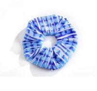 Blue Stripe Print Scrunchie