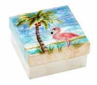 "4"" Square Flamingo and Palm Capiz Box"