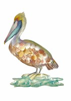 """18"""" Multipastel Pelican With Shell Wing Wall Plaque"""
