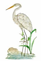 """22"""" White Egret With Shell Wing Wall Plaque"""