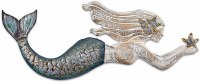 """26"""" Wooden and Metal Mermaid Wall Plaque"""