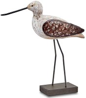 """9"""" White Washed and Brown Shore Bird Figure"""