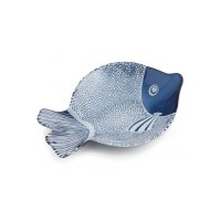 """13"""" Blue and White Glass Fish Bowl"""