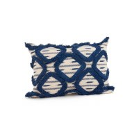 "14"" x 20"" Cream and Blue Fringe Pillow"