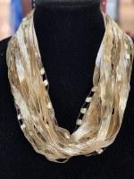 "18"" Soft Cream Ribbon Necklace"