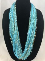 "12"" Aqua Cotton Jewel Necklace"