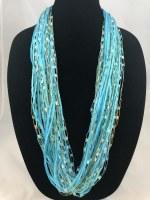 "18"" Aqua Cotton Jewel Necklace"