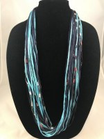 "12"" Aqua and Navy Jewel Necklace"