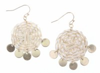 Wicker Woven Circles With Gold Dangles Earrings