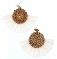 Wicker Woven Circles With Cream Fan Earrings