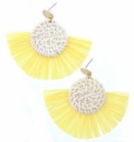 Wicker Woven Circles With Yellow Fan Earrings
