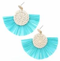 Wicker Wovn Circles With Mint Fan Earrings