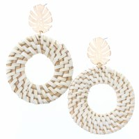 Wicker Woven Circles With Gold Leaf Stud Earrings