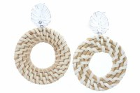 Wicker Woven Circles With Silver Leaf Stud Earrings