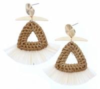 Wicker Woven Triangles With Cream Raffia Earrings