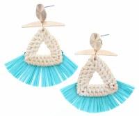 Wicker Woven Triangles With Mint Raffia Earrings