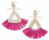 Wicker Woven Triangles With Pink Raffia Earrings