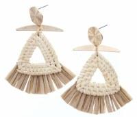 Wicker Woven Triangles With Tan Raffia Earrings