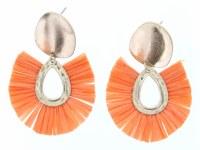 Gold Stud With Orange Fan Earrings