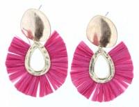 Gold Stud With Pink Fan Earrings