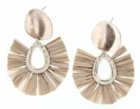 Gold Stud With Tan Fan Earrings