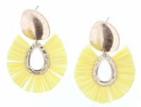 Gold Stud With Yellow Fan Earrings