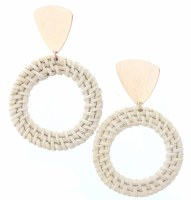 Wicker Woven Circle With Golden Triangle Earrings