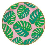 "Pack of 8, 7"" Round Monstera Leaf Plate"