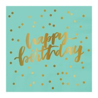 "5"" Square Turquoise and Gold Happy Birthday Beverage Napkin"