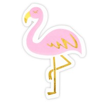 "5.5"" x 5.3"" Die Cut Flamingo Beverage Napkin"