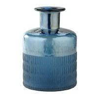 "9"" Blue Textured Glass Vase"