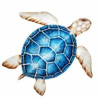 "24"" Blue Shell Capiz Turtle Wall Plaque"