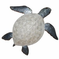 """11"""" White and Gray Shell Capiz Turtle Wall Plaque"""