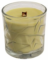 White Lavender Wooden Wick Optic Glass Jar Candle