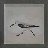 "30"" Square Gray Sandpipers 1 Framed Gel Print"