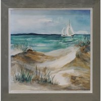 "30"" Square White Sailboat and Beach Framed Gel Print"