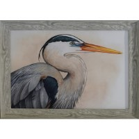 "30"" x 42"" Blue Heron 2 Framed Gel Print"
