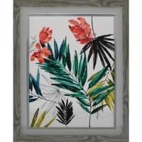 "29"" x 23"" Coral Tropical Flower 1 Framed Gel Print"