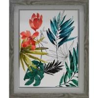 "29"" x 23"" Coral Tropical Flower 2 Framed Gel Print"
