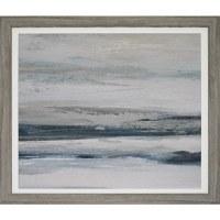 "29"" Square Gray and Blue Horizon 1 Framed Gel Print"