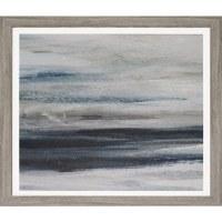 "29"" Square Gray and Blue Horizon 2 Framed Gel Print"