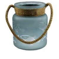 """9"""" Aqua Frost Fish Etch Lantern"""