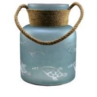 """11"""" Aqua Frost Fish Etch Lantern"""