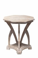 "28"" White Washed Wooden Hex Table"